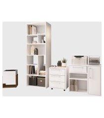 conjunto para escritório 02 livreiro/balcáo multiuso/gaveteiro/cachepô branco modern office e estilare móveis