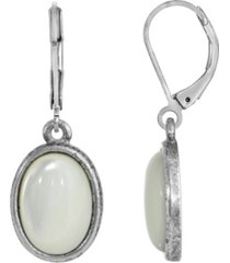2028 silver-tone semi precious mother of pearl oval drop earrings