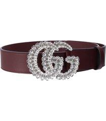 gucci crystal embellished gg marmont belt - brown