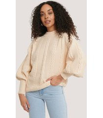 na-kd balloon sleeve cable knitted sweater - beige