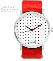 - 12 % love dots - czerwony - zegarek makaliboo