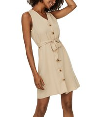 women's vero moda viviana sleeveless tie waist dress, size small - brown