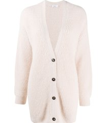 closed ribbed knit longline cardigan - pink