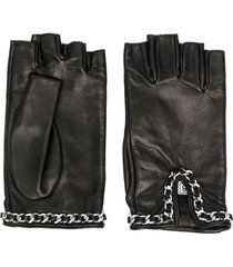 manokhi chain-link detail fingerless gloves - black