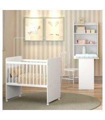 quarto infantil completo naninha multimóveis com mini berço com rodízios e armário branco