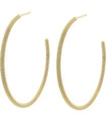 brinco narcizza semijoias argola aberta trabalhada 5 cm - ouro