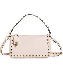 valentino garavani mini rockstud leather shoulder bag - pink
