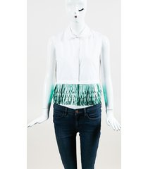 white cotton green faux feather embellished sleeveless top