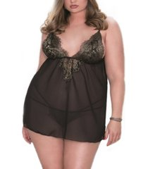 icollection plus size free spirited babydoll 2pc lingerie set, online only