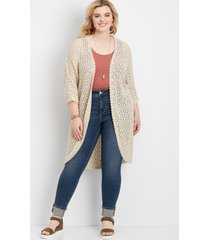 maurices plus size womens crochet open front kimono beige