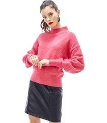 sweater cuello subido mujer fucsia corona