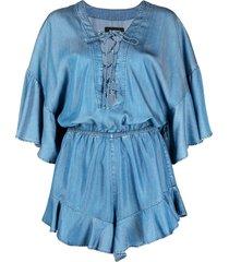pinko ruffle-trim lace-up chambray playsuit - blue