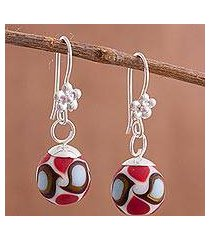 art glass dangle earrings, 'murano abstraction' (peru)