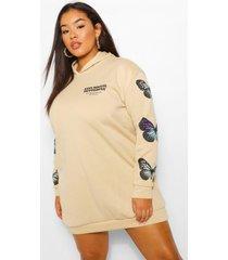 plus sweatshirt jurk met capuchon en vlindermouwen, steenrood