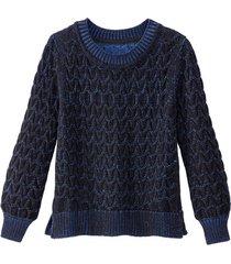 grof gebreide pullover uit bio-katoen met kabelpatroon en bicolor-look, zwart/ultramarijn 36/38