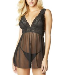 women's mesh and lace frame empire babydoll with g-string