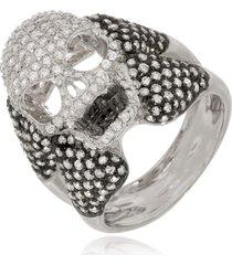 anel le diamond caveira com zircônia ródio branco