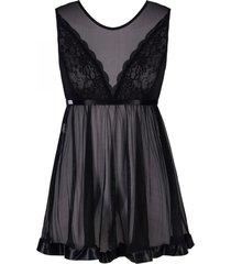 camisola  cecillia em tule preto - preto - feminino - dafiti