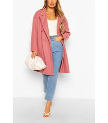 double breasted pocket detail wool look coat, rose
