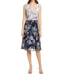 women's connected apparel contrast floral faux wrap dress, size 10 - blue