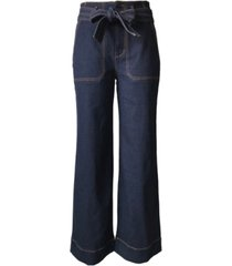 tinseltown juniors' belted wide-leg jeans