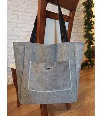 duża szara pleciona torba shopper boho xxl