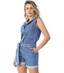 macaquinho jeans sawary azul - kanui