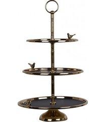 patera potrójna metalowa czarno złota birds