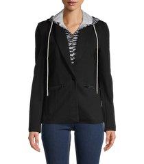 central park west women's 2-in-1 zebra-print hoodie jacket - black zebra - size xs