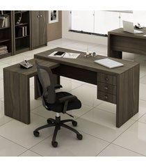 mesa para escritório 3 gavetas carvalho me4106 - tecno mobili