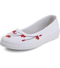 scarpe piatte di tela con motivo floreale
