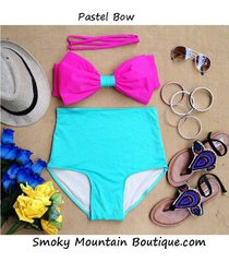 pastel bow retro high waist swimsuit (pink top & green bottom)