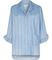 ganni vertical-stripe pyjama top - blue