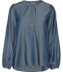 nubardou blouse blus långärmad blå nümph