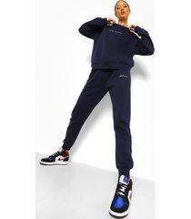 woman geborduurd trainingspak met sweater, marineblauw