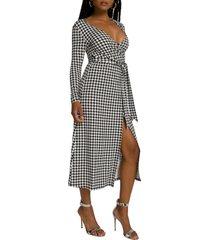 women's good american daynight long sleeve midi wrap dress