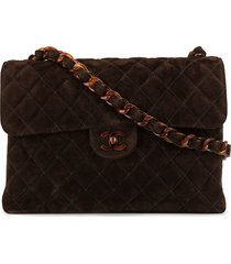 chanel pre-owned quilted cc plastic single chain shoulder bag - brown