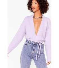 womens tie-ing our luck fluffy knit cardigan - lilac