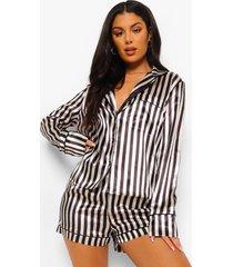 mono gestreepte satijnen pyjama set met shorts