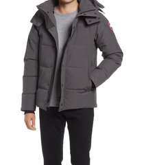 canada goose men's wyndham fusion fit 625 fill power hooded down jacket, size small in graphite at nordstrom
