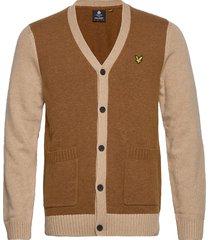 contrast knitted cardigan gebreide trui cardigan bruin lyle & scott