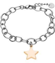 bracciale in acciaio bicolore con ciondolo stella per donna