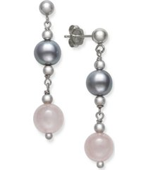 gray cultured freshwater pearl 7.5-8.5mm and rose quartz 8mm drop earrings in sterling silver
