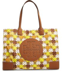 tory burch ella print tote - brown