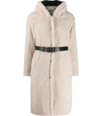 ba & sh filip belted fleece coat - neutrals