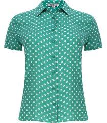camisa puntos color verde, talla m