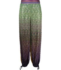 missoni mare ombre print harem beach trousers - green