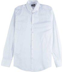 slim fit overhemd in een elastische katoenmix licht wit