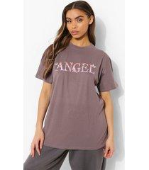 oversized bloemenprint t-shirt met engel, charcoal