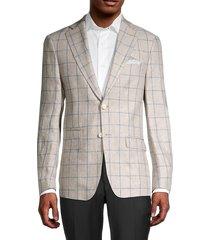 tallia men's regular-fit windowpane linen blazer - oatmeal - size 40 r